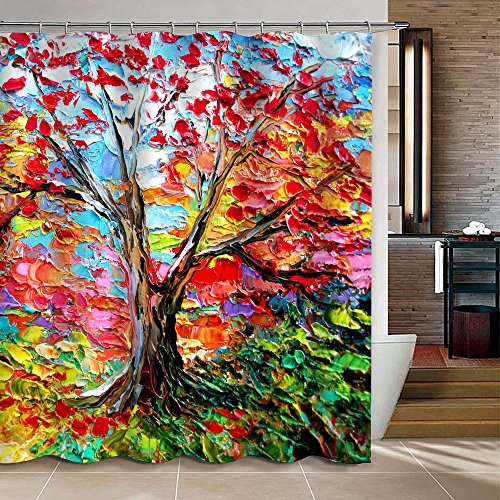 [iPrint Colorful Oil Painting Tree Pattern Custom Bathroom Shower Curtain Waterproof Polyester Fabric Bathroom Curtain Ideas 72 X 72] (Quick Halloween Costume Ideas For Boys)
