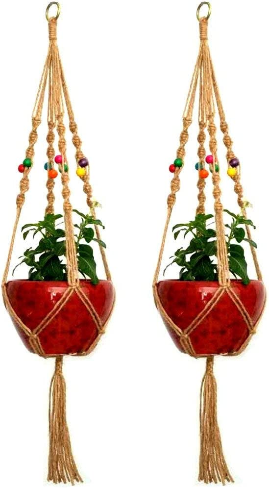 zison 2PCS 41 Inches Jute Plant Hanger Holder Natural Hemp Rope for Indoor Outdoor Plants Basket Hanging Rope 4 Legs