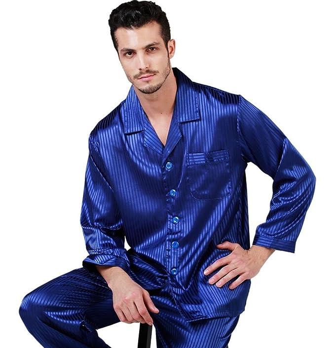 lonxu Juego de pijama de satén de seda para Hombre pijamas ropa rayas S ~ 4