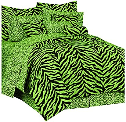 Amazon Com Zebra Print Bed Bed In A Bag Lime Green And Black