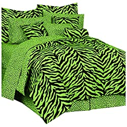 Karin Maki Zebra Complete Bedding Set, Queen, Lime