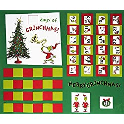"Dr Seuss Grinch Advent Calendar PANEL from How The Grinch Stole Christmas - Panel is 36""x44"""