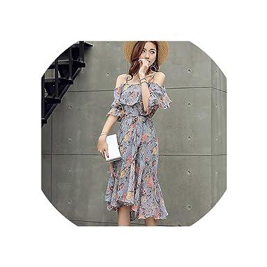 b85e7953c6fe Summer Dress Woman Off-Shoulder Slim Strap Floral Irregular Dress Chiffon  Dress Bohemian Sundress Vestidos de at Amazon Women's Clothing store: