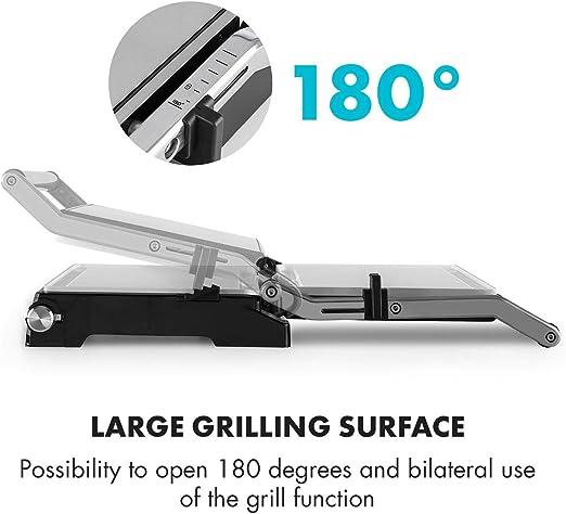 Klarstein Buffalo Gril de contact Paninimaker 2000W, Ceramic Coating Technology, s'ouvre à 180 degrés, avec bac à graisse, acier inoxydable brossé,