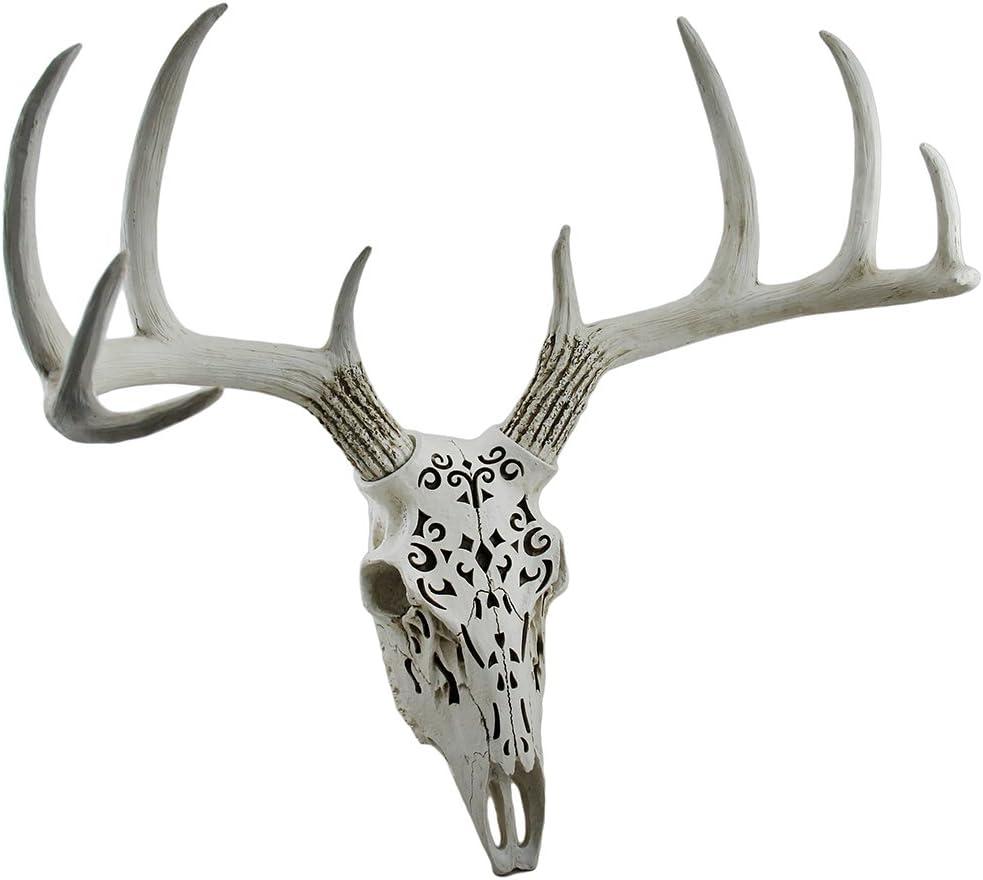 Zeckos Decorative Filigree Design Hanging Deer Skull Statue 17 Inch