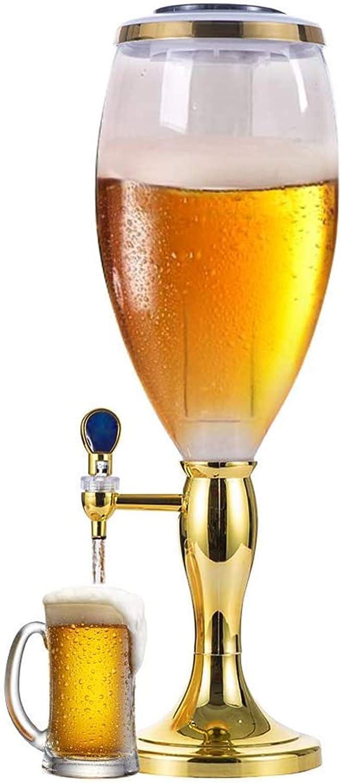 SIRUL Dispensador de Cerveza, dispensador de Torre de Bebidas Transparente de 3 l, con Luces LED y Tubo de Hielo extraíble, fácil de Limpiar, para Bar, Fiestas en casa, Restaurante Buffet