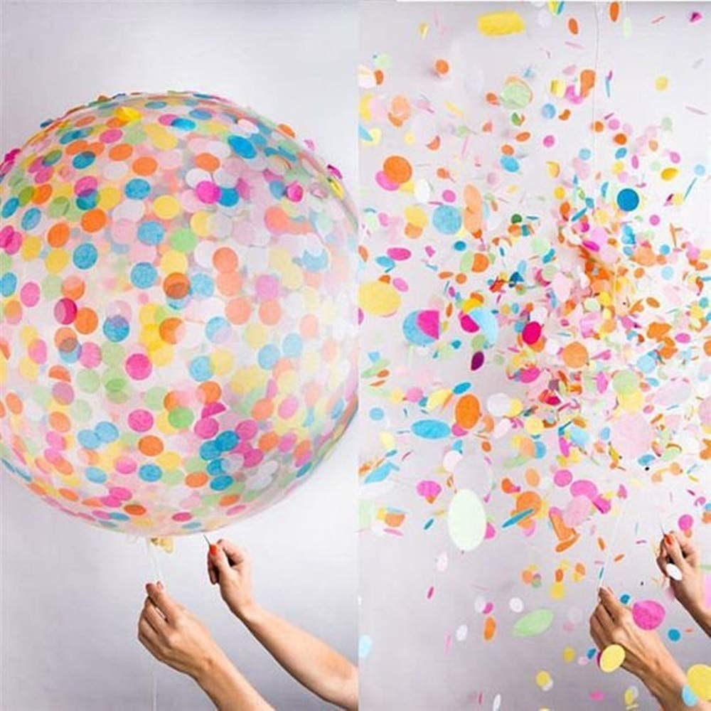 Giant Latex Balloon with 60g Multicolor Confetti Balloons for All Event Decorations GUZON 6 PCS 36 Inch Jumbo Confetti Balloons