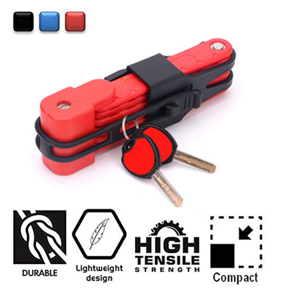 Cerradura Plegable para Bicicletas - Antirrobo Heavy Duty High Security Harden Steel Cerraduras Plegables compactas para Bicicletas metálicas - Se despliega a 80 cm, Rojo SXPOT
