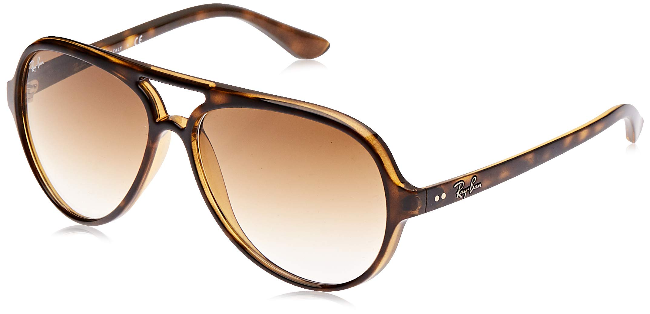 RAY-BAN RB4125 Cats 5000 Aviator Sunglasses, Light Havana/Brown Gradient, 59 mm by RAY-BAN