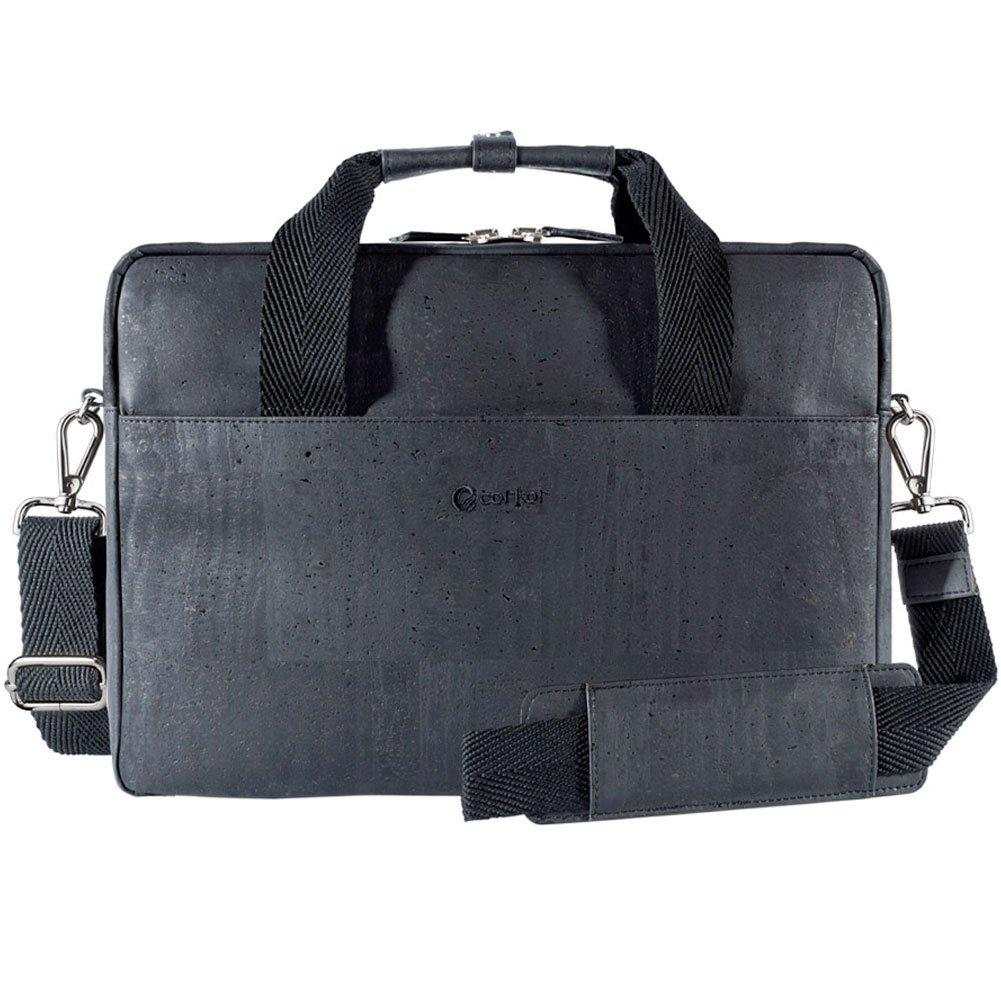 Corkor Vegan Briefcase Handbag Shoulder Messenger Bag Men Non-Leather Cork Black Color