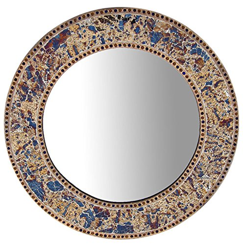DecorShore round Crackled Glass Mosaic Wall Mirror, Fired Gold