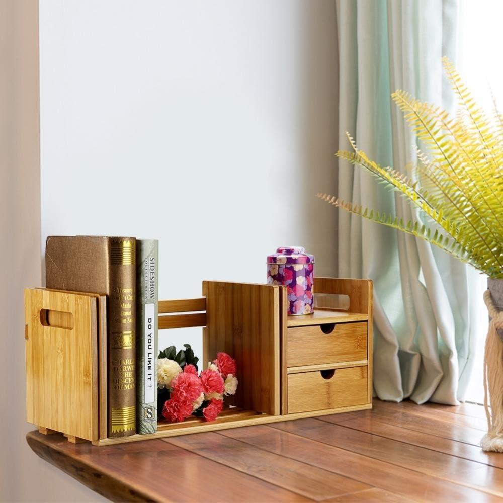 estanter/ía para Libros Escritorio Extensible de Madera de bamb/ú Organizador de estanter/ía con 2 cajones estanter/ía Dancal Mini Organizador de estanter/ía