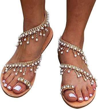 Desirepath Flat Sandals for Women Ladies Elegant Pearl Handmade Beaded Sommer Beach Shoes