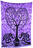 Amitus Exports TM Premium Quality 1 X Elephant Heart Tree Purple Tie Dye Color 78''X52'' (Approx.) Inches Queen Size Indian Mandala Tapestry Thin Cotton Fabric Throws (Handmade In India)