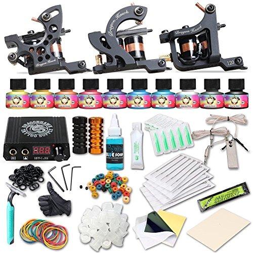 Dragonhawk Complete Tattoo Kit 5 Machine Gun Ink Power Supply 50