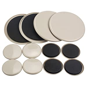 12PCS Furniture Movers 3.5 Inch And 7 Inch Plastic Sliders Multi Sizes For Carpet Hardwood Floors