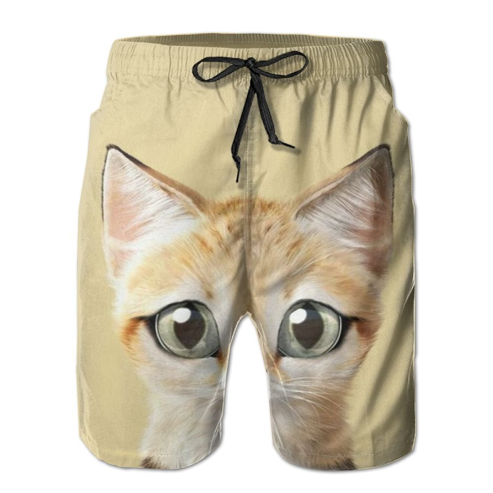 Cute Yellow Cat Mens Beach Board Shorts Quick Dry Summer Casual Swimming Soft Fabric with Pocket