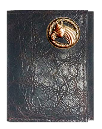 Custom Copper Horse Concho on a Black Harness Leather Bi-fold Wallet Proudly made in the USA.