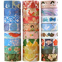 24 Rolls Decorative Washi Masking Tape Set,Festival Series Collection for Handcraft, Gift Wrapping, Planner and Bullet Journal