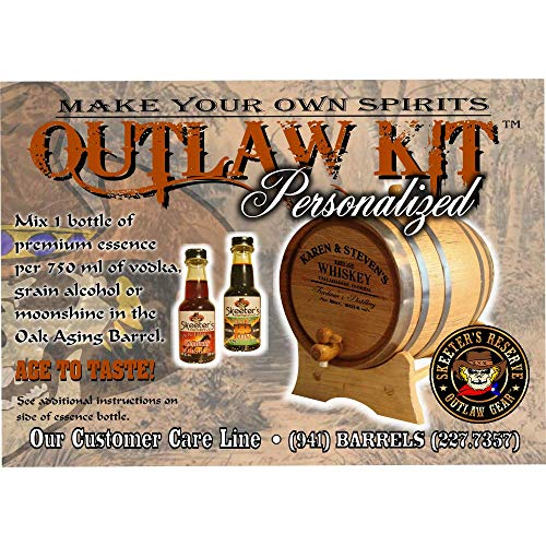 Personalized Whiskey Making Kit (062) - Create Your Own Tennessee Bourbon Whiskey - The Outlaw Kit from Skeeter's Reserve Outlaw Gear - MADE BY American Oak Barrel - (Oak, Black Hoops, 1 Liter) by American Oak Barrel (Image #2)