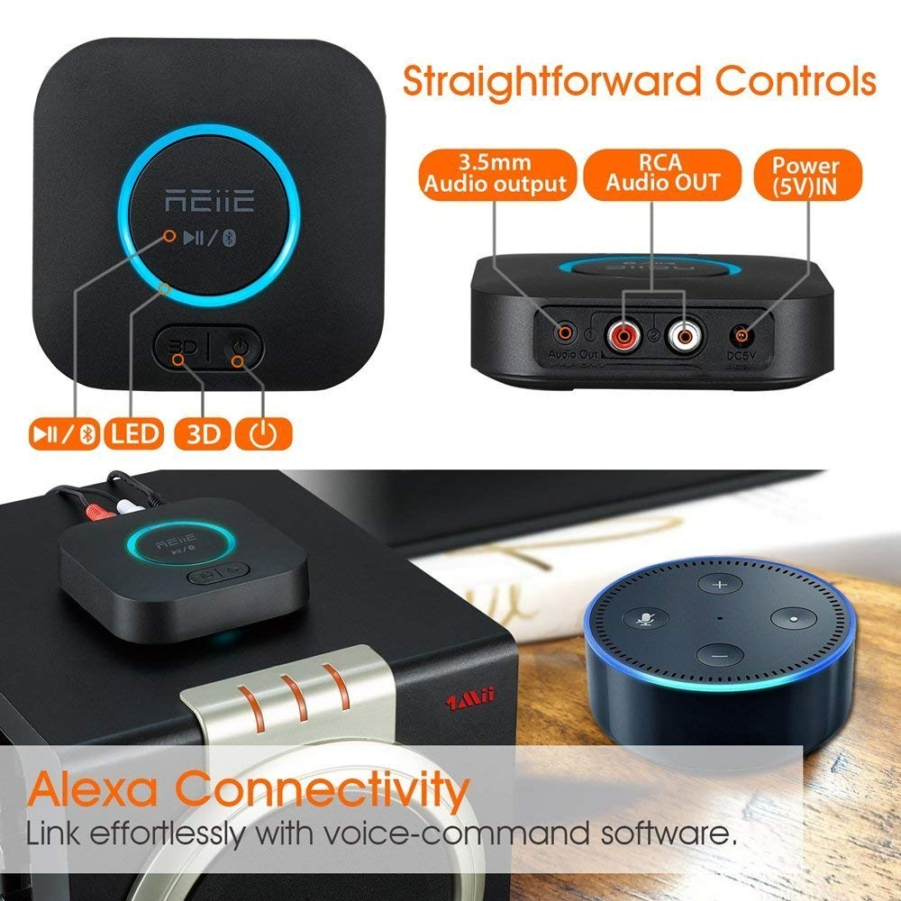 REIIE Audio Bluetooth Adapter Receiver with 3D Surround AptX Low Latency Pair 2 at Once V4.2 HiFi Wireless Audio Adapter for Home and Car Music Stereo Streaming