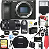 Sony ILCE-6500 a6500 4K Mirrorless Camera with 55-210mm Zoom Lens + 64GB SDXC Memory Card + 0.43x Wide Angle + 2.2x Telephoto Lens Converter + Carrying Case + Memory Card Reader + Tripod+More