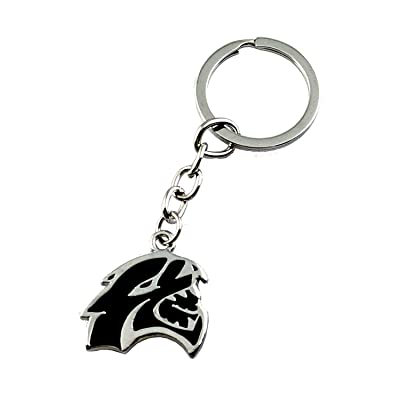 WindCar 3D Hellcat Hell Cat Keychain Key Chain Metal Keychain Fob Ring Keychain for Dodge Challenger Charger (Black): Automotive