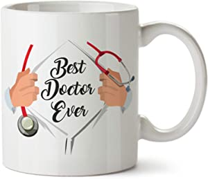 Best Doctor Ever Funny Coffee Mug - Ceramic - 11 oz - Superman Mug For Doctors, Gifts for Surgeons, Men and Women Doctors, Hospital Medical Dr Novelty, Super Man Doc Cup