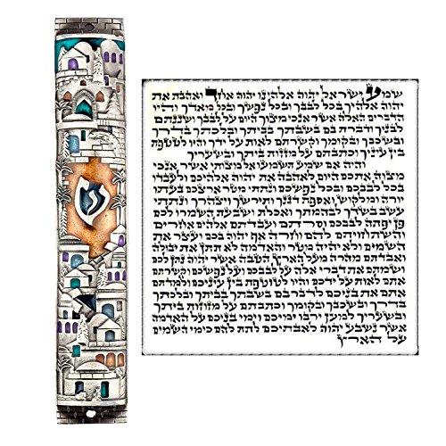 Large Silver Enamel Jewish MEZUZAH CASE with Scroll Jerusalem Israel Judaica Door Mezuza 6