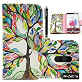LG G3 Case,LG G3 Flip Case,LG G3 Phone Case, M-Zebra LG G3 Wallet Case [Wallet Function] Flip Cover Leather Case for LG G3, with Screen Protectors+Stylus (Colorful Tree 1)
