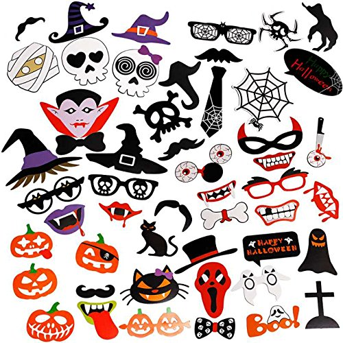Custom Props For Halloween (Halloween Photo Booth Props Kit - Toqueen PZ012 (2017 New Design) Mini Pioneer Personalized Custom Photo Booth Prop for Women Men Birthday Party include Hats Glasses Lips Mustache Ties)