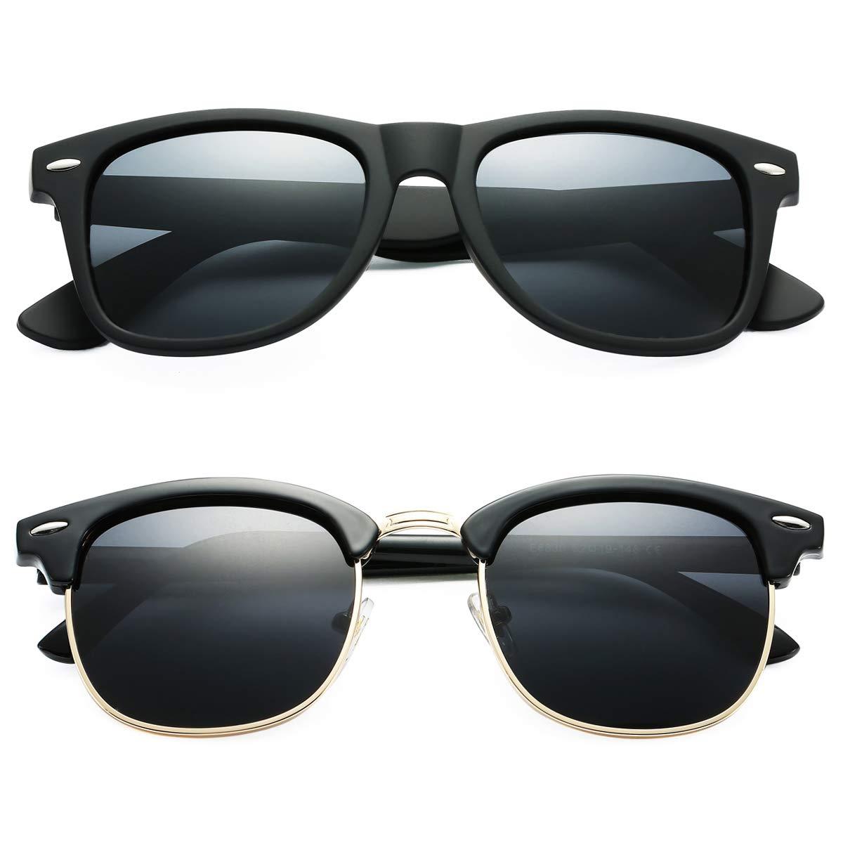 Pro Acme Semi Rimless Polarized Sunglasses for Men Women Classic Brand Designer (Semi Rimless + Square) by Pro Acme
