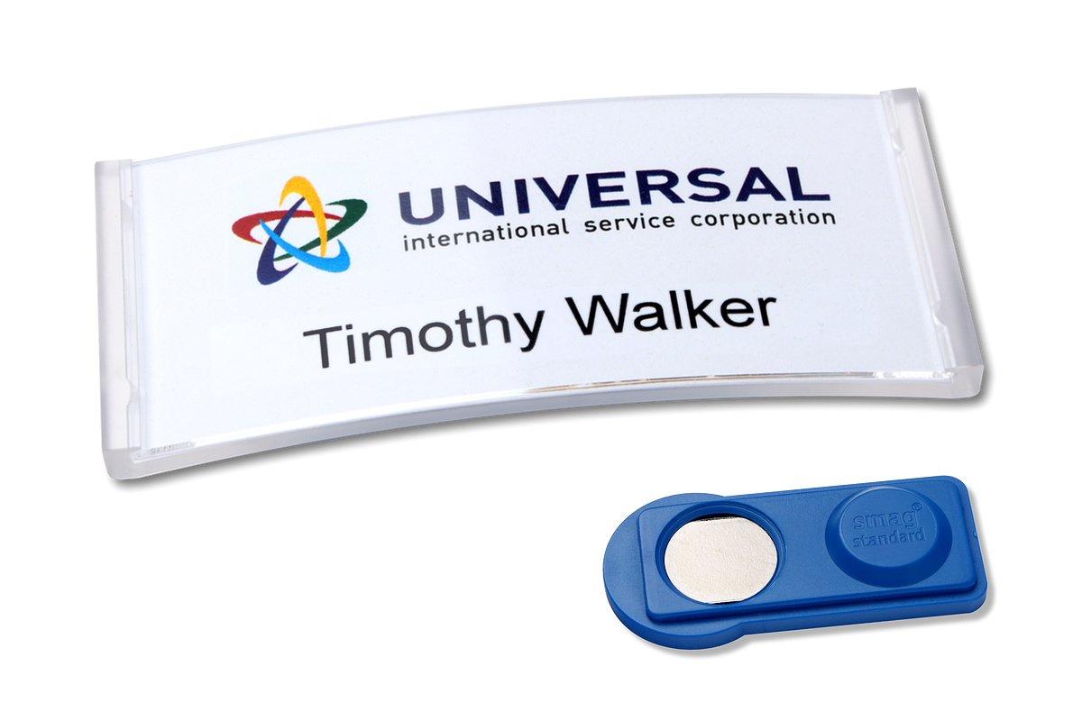 '20 Polar 30 magnetic name tags Color & Pressure Elbow – Translucent Clear badgepoint® GmbH