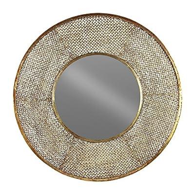 Urban Trends Round Mirror with Pierced Frame Metallic Rust Finish Gold - Item Type: mirror Item material: metal Item finish: rust finish - bathroom-mirrors, bathroom-accessories, bathroom - 61LJikqLx1L. SS400  -