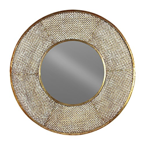 (Urban Trends Round Mirror with Pierced Frame Metallic Rust Finish Gold)