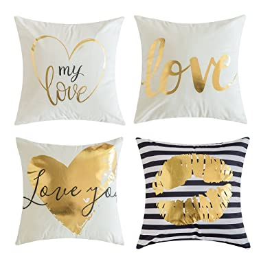 MIULEE Pack of 4, Gold Stamping Soft Solid Decorative Outdoor Square Throw Pillow Covers Set Cushion Case for Sofa Bedroom Car 18 x 18 Inch 45 x 45 cm