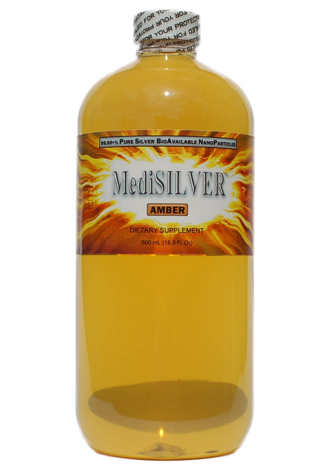 MediSILVER Amber Traditional colloidal Silver - 500 mL in BPA Free Plastic Bottle
