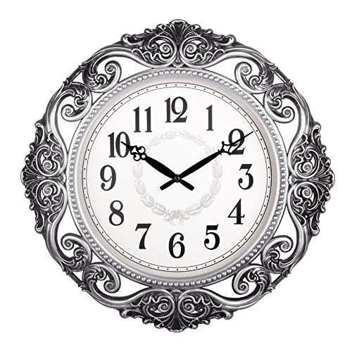 Cheap 20-Inch Super Large Size Decorative Wall Clock With Silent Quiet Quartz Movement DYD66154 (#A-Silver)
