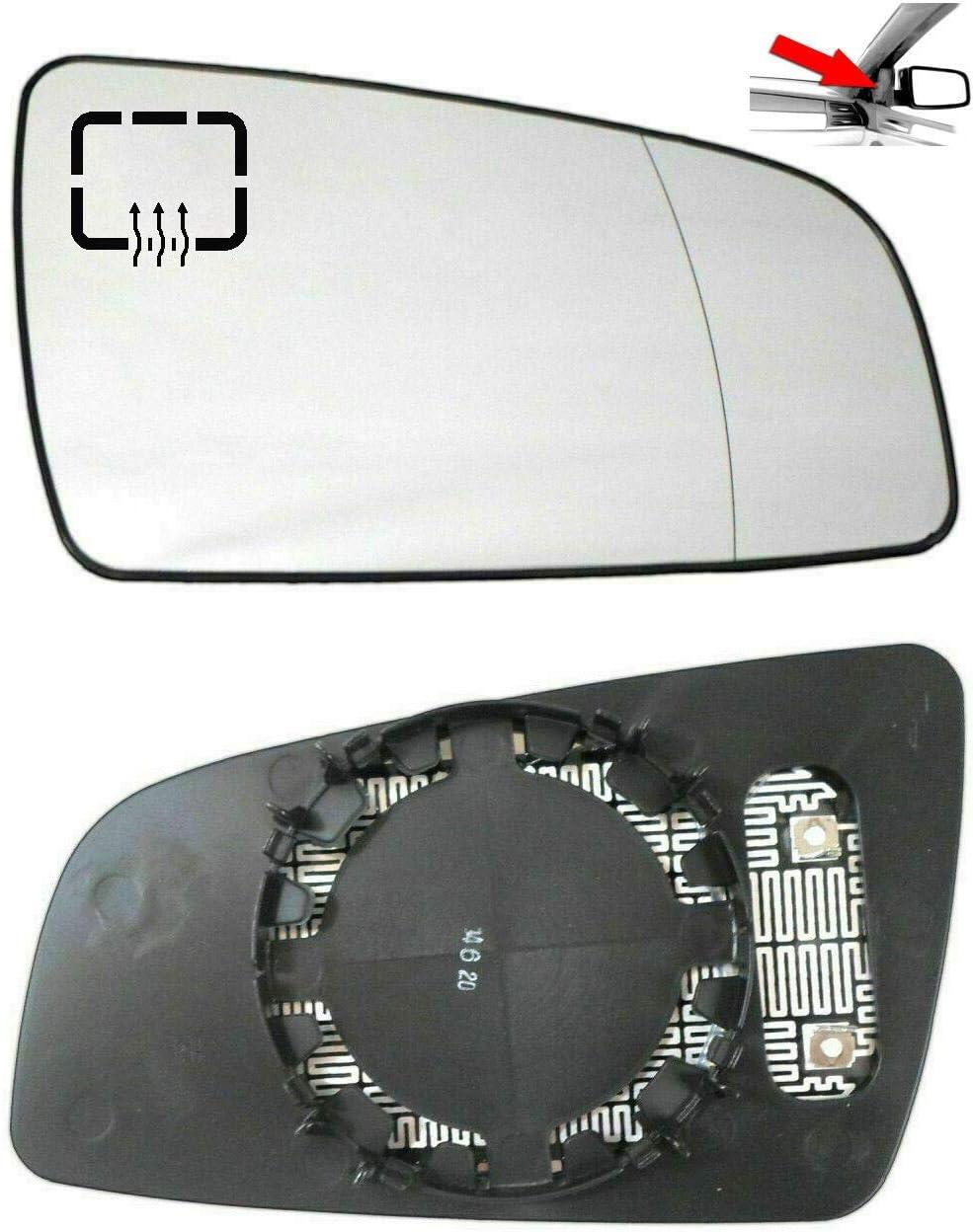 Miroir Glace Verre De R/étroviseur Chauffant Grand Angle Droit C/ôt/é Passager Pour Zafira 2005-2008