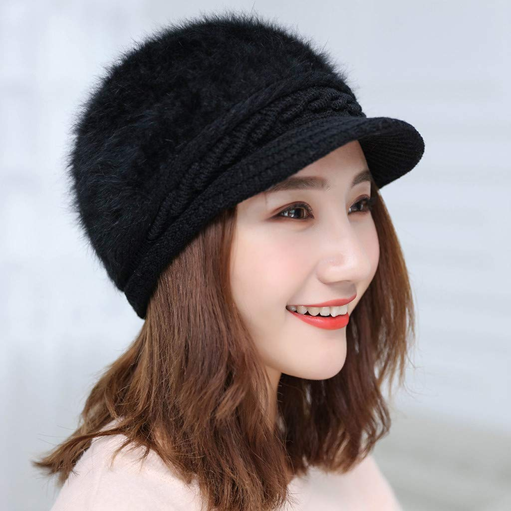 Women Winter Warm Knit Hat Beret Baggy Beanie Hat Snow Slouchy Ski Caps with Visor Red