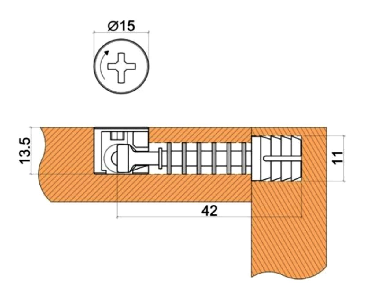 AERZETIX 30 Juegos de tornillos de empalmes racor de montaje rastex para paneles de muebles 18mm con manga de clavija pl/ástico C41550