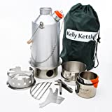 Kelly Kettle Ultimate Aluminum Large Base Camp Camp Stove Kit. The Perfect Camp Stove for Hiking, Camping, Kayaking, Fishing, Hunting and Emergencies. Boil Water, Cook Fast, Survive.