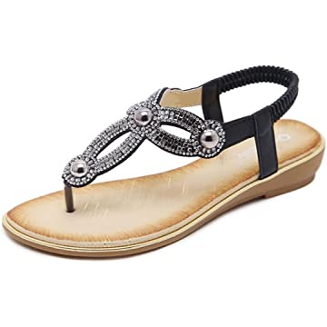 5c4efac0ee3760 Women T- Strap Thong Flat Sandals Summer Beach Crystal Flip Flops Shoes