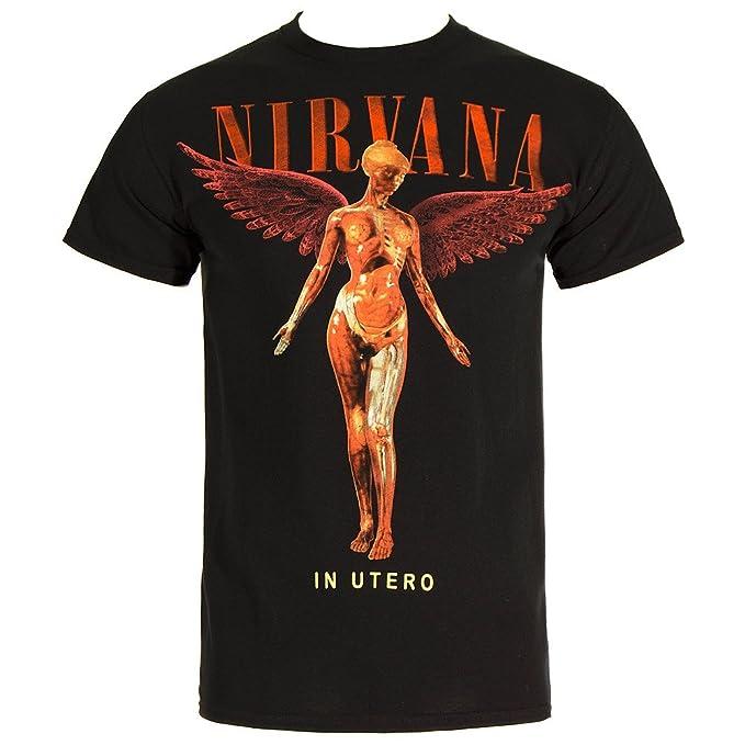 Nirvana Logo in Utero Camiseta Negro LV04vZENRC