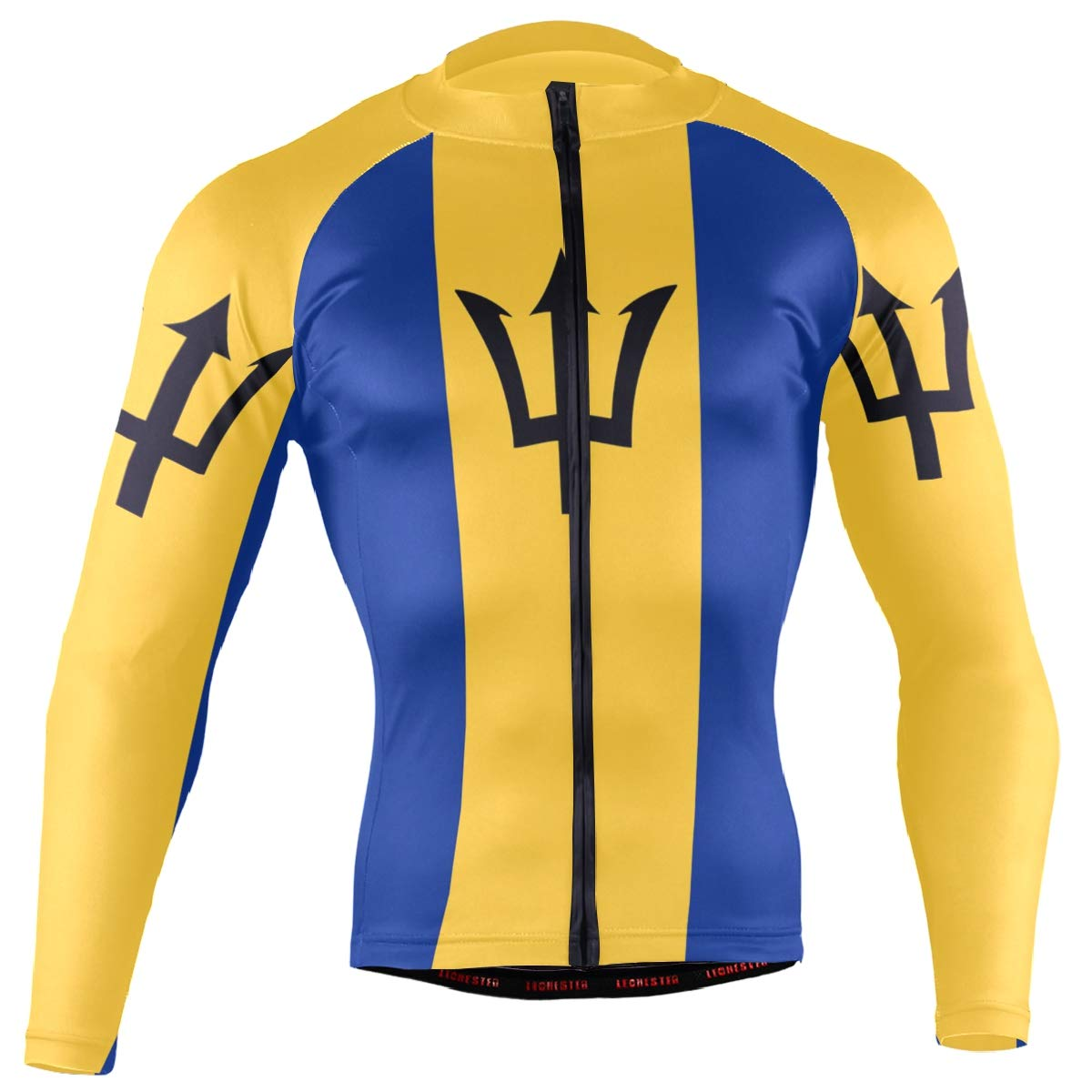 CHINEIN Men's Cycling Jersey Long Sleeve with 3 Rear Pockets Shirt Barbados Flag by CHINEIN