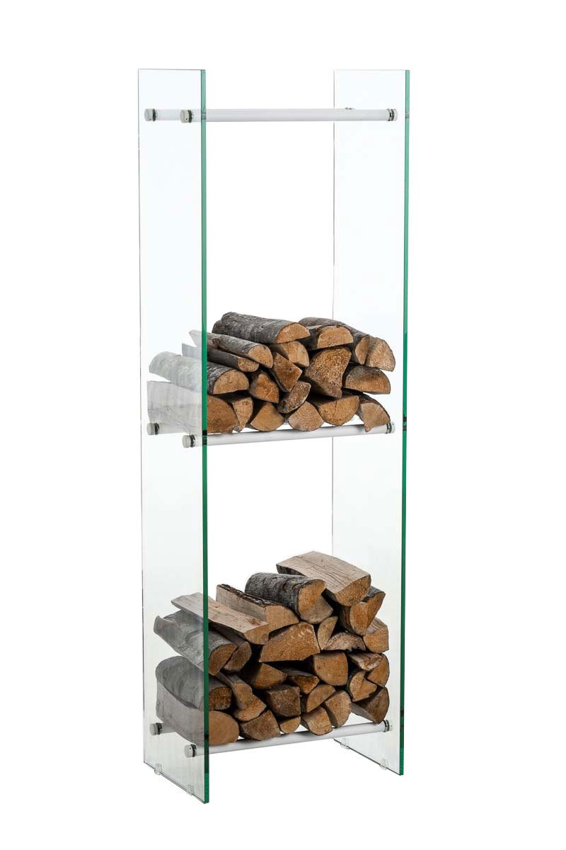 35x35x140 cm 6 Streben Edelstahl CLP Kaminholzregal//Kaminholzst/änder Dacio aus Milchglas I stabile Konstruktion I Holzlager I modernes Glasregal mit Bodenschonern Strebenfarbe