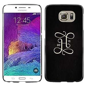 Be Good Phone Accessory // Dura Cáscara cubierta Protectora Caso Carcasa Funda de Protección para Samsung Galaxy S6 SM-G920 // 2013 H letter initial gold black metal