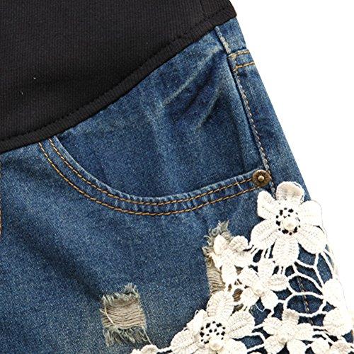 Cintura Hzjundasi Leggings Shorts Pantaloni Blu Elastico Maternità Premaman jeans Lace Donna H0fHqU