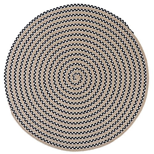 LOCHAS Natural Fiber Braided Area Rug Hand Woven Reversible Solid Jute with Cotton Yarn Carpet for Living Room Bedroom Rugs Dingroom (8.2