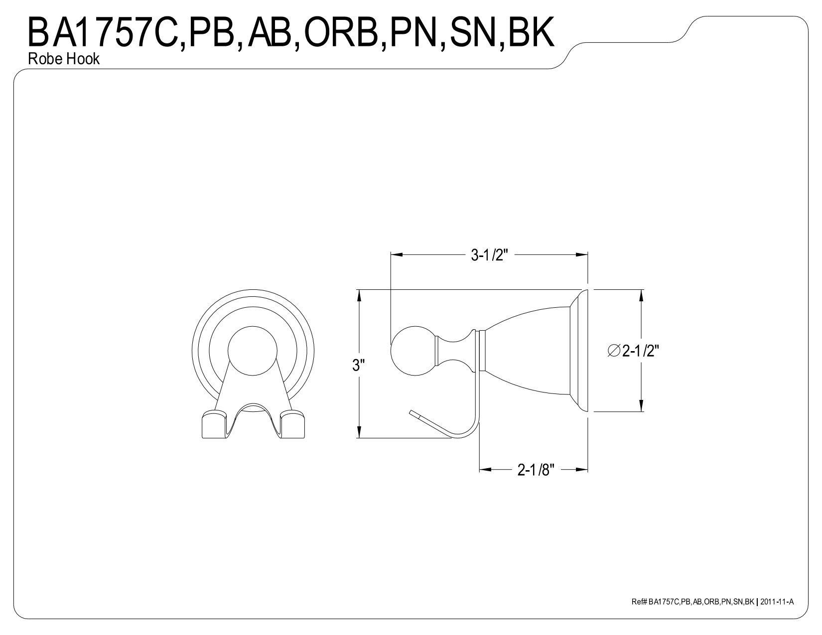 Kingston Brass BA1757BK Water Onyx Robe Hook, Black Stainless Steel
